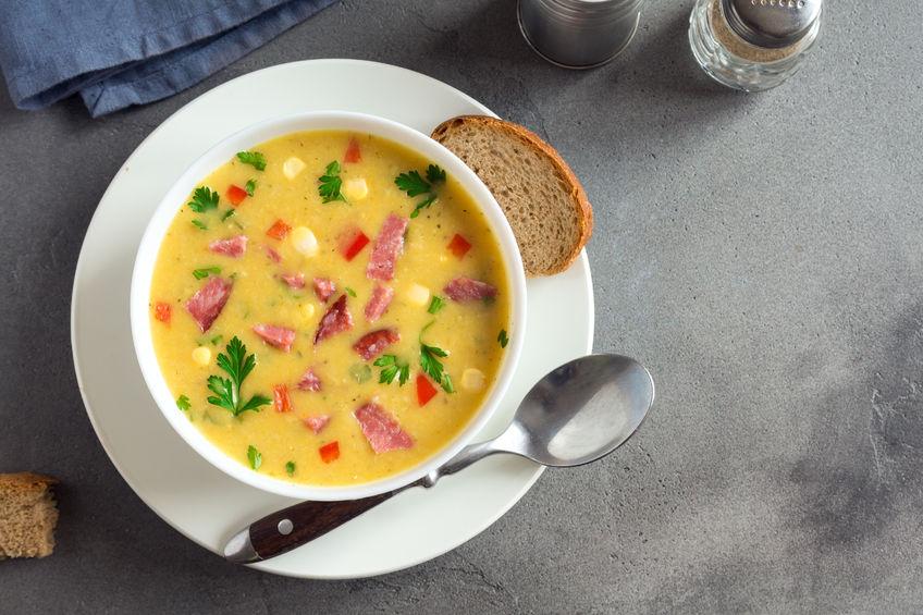 Сырный суп с сосисками