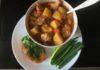 Рагу из свинины с картофелем и соусом чили