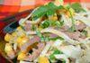 Салат из говяжьего языка с омлетом