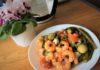 Аргентинские креветки с запечёнными овощами