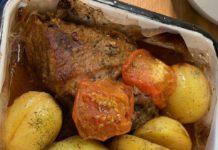 Свиной карбонад в духовке с картофелем и помидорами