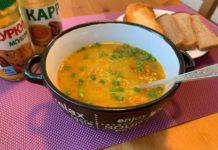 Яркий густой чечевичный суп с карри и куркумой