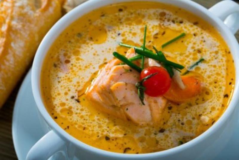 Суп с семгой и плавленым сыром